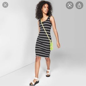 Wild Fable Striped Fitted Midi Dress